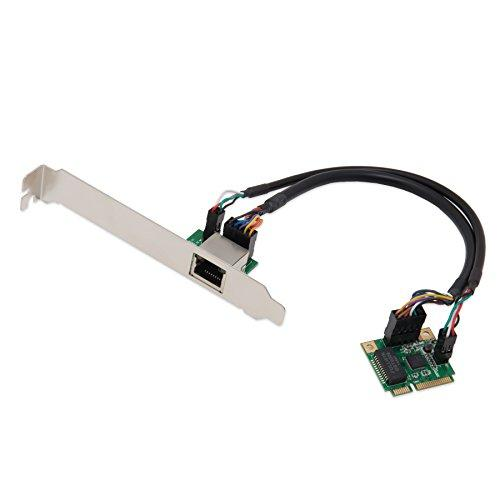 Mini Pci Express 2.0 1-Port Gigabit 10/100/1000 Base-T Ethernet Lan Controller, With Daughter Card And 10-Pin Network Cable And 4-Pin Led Cable, With Low Profile Bracket, Realtek Chipset