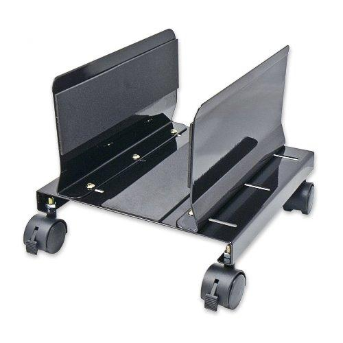 Cpu Stand With Castors For Computer Case, Aluminum, Black Color, Adjustable Width From 14Cm To 25Cm