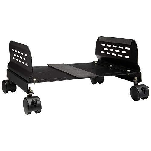 Aluminum Cpu Stand With Castors, Suitable For Gaming At/Atx Case, Adjustable Width Up To 12.5 (32.5Cm), Black Color