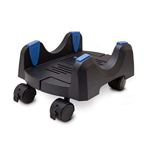 Cs-8Ak Unique Design Plastic Cpu Stand For Atx Case, Adjustable Width From 5.7 To 9.7 (14.5Cm To 24.5Cm), With Caster Wheels, Black Color