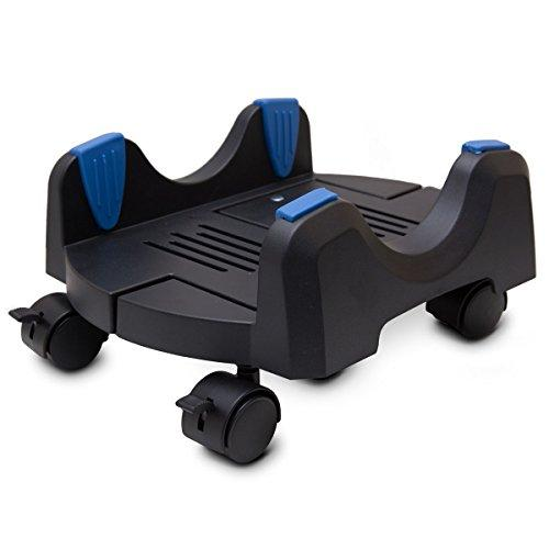 Cs-8Akl Jumbo Design Plastic Cpu Stand For Atx Case, Adjustable Width From 7 To 12 (17.5Cm To 30.5Cm), With Caster Wheels, Suitable For Gaming Case, Black Color