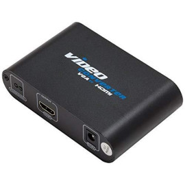 Vga  3.5Mm Audio To Hdmi Converter, With Power Adapter, Black Color