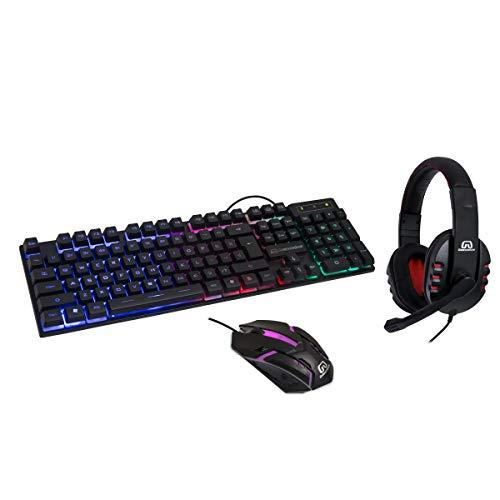 3-In-1 Gaming Kit For Starter, Tri-Color (Red, Blue, Green) Led Usb Spill Proof Keyboard, Led Backlit Usb Wired 2400 Dpi 6-Button Optical Mouse, Stereo Headset With Microphone And Volume Control