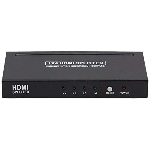 1X4 Hdmi Splitter, V1.3, Full Support 1080P Hdtv, Pnp, With Power Adapter, Fine Alloy Metal Case, Black Color