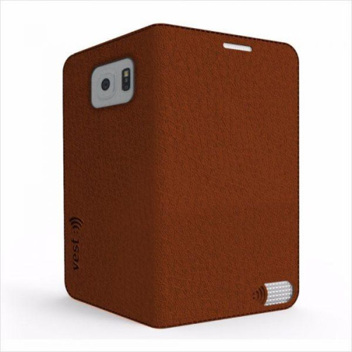 Vest Anti-Radiation Wallet case for Samsung Galaxy S6 - Brown