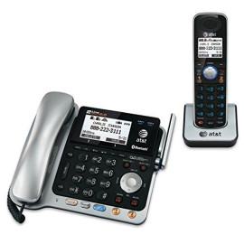 Dect 6.0 Digital 2-Line Corded/Cordless Answering System, Black/Silver