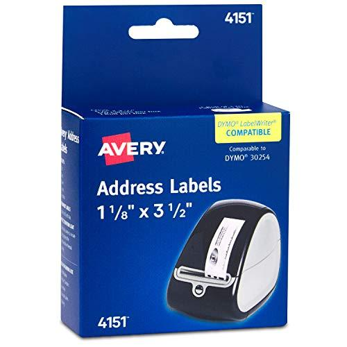 Avery Labels For Dymo Label Printers, Same Size As Dymo 30252, Glossy Clear, 1-1/8'' X 3-1/2'', Roll Of 120 Labels (4151)