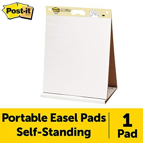 Post-It Super Sticky Tabletop Easel Pad, 20 X 23 Inches, 20 Sheets/Pad, 1 Pad (563R), Portable White Premium Self Stick Flip Chart Paper, Built-In Easel Stand
