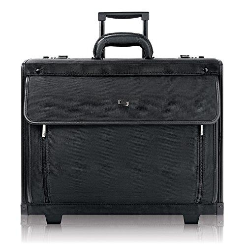 Solo New York Herald Rolling Catalog Case With Padded Laptop Compartment That Fits Up To 16 Inch Laptop, Equipped With Dual Combination Locks And Two Wheeled Hard Sided Catalog Case For Men And Women, Black