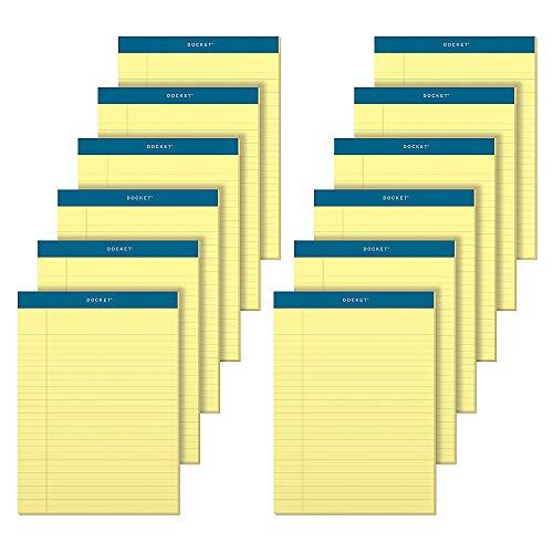 "Tops Docket Writing Pads, 8-1/2"" X 11-3/4"", Legal Rule, Canary Paper, 50 Sheets, 12 Pack (63400)"