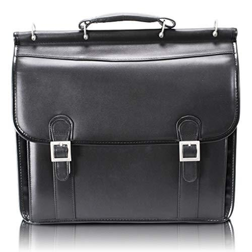 "Mcklein, V Series, Halsted, Top Grain Cowhide Leather, 15"" Leather Double Compartment Laptop Briefcase, Black (80335)"