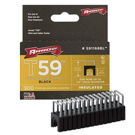 Arrow Fastener 591168Bl Genuine T59 Insulated 1/4-Inch By 1/4-Inch Staples, Black, 300-Pack