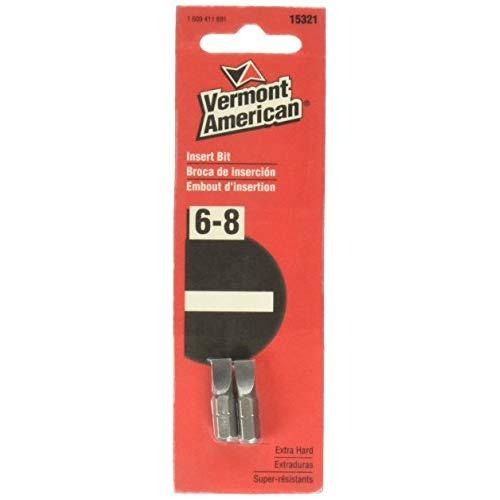 Vermont American 15321 Type Slotted Size 6 Through 8 With 1-Inch Length Extra Hard Screwdriver Bit, 2 Pieces Per Card