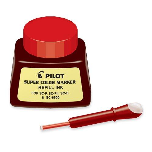 Pilot Super Color Permanent Marker Refill Ink, Red Ink, 1 Ounce Bottle With Dropper (43700)