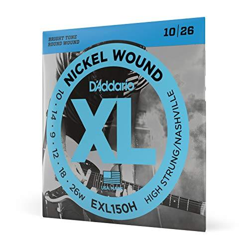 D'Addario Nickel Wound Electric Guitar Strings, 1-Pack, High-Strung/Nashville Tuning, 10-26