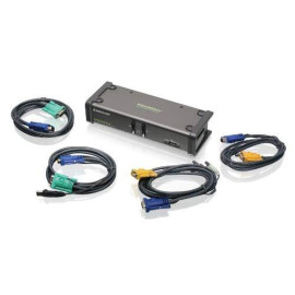 Iogear 2-Port Dual View Kvm Switch With Audio And Usb Peripheral Sharing, W/Full Set Of Cables, (Gcs1742 Taa Compliant)
