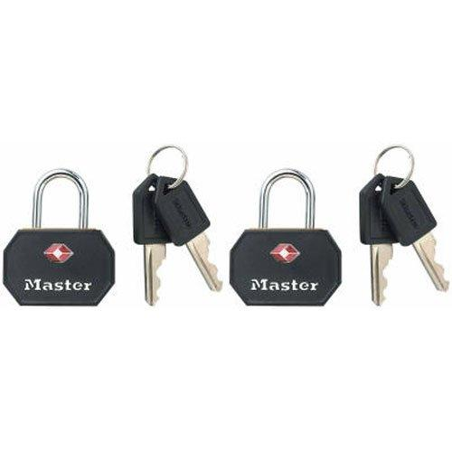 Master Lock Padlock, Keyed Tsa-Accepted Luggage Lock, 1-1/4 In. Wide, Black, 4681Tblk (Pack Of 2)