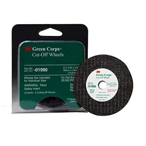 "3M 01990 Green Corps 3"" X 1/16"" X 3/8"" Cut-Off Wheel (5 Wheels Included)"