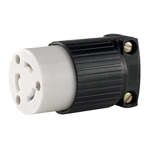 Eaton Wiring L520C 20-Amp 125-Volt Hart-Lock Industrial Grade Connector With Safety Grip Black And White