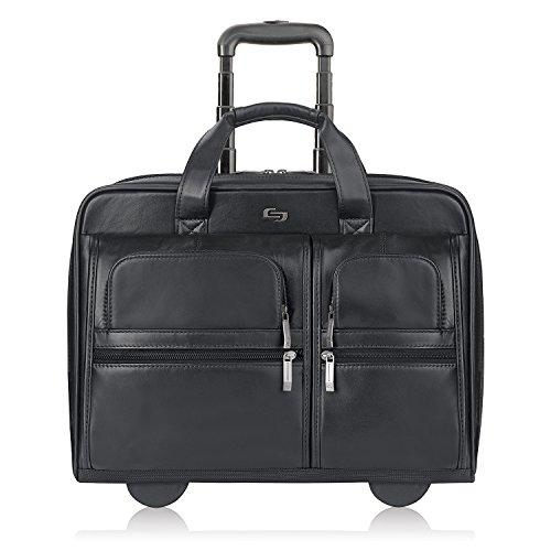 Solo New York Franklin Rolling Laptop Bag. Premium Leather Rolling Briefcase For Women And Men. Fits Up To 15.6 Inch Laptop - Black