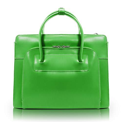 """Mcklein, W Series, Lake Forest, Top Grain Cowhide Leather, 15"""" Leather Ladies' Laptop Briefcase W/Removable Sleeve, Green (94331)"""