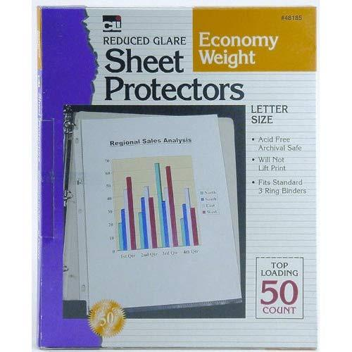 Charles Leonard Sheet Protectors, Top Loading With Binder Holes, 2 Mils Economy Weight, Non-Glare, Letter Size, Clear, 50-Pack(48185)