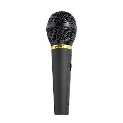 """Corded Unidirectional Handheld Dynamic Microphone - Professional Wired Vocal Mic W/ Acoustic Pop Filter, Xlr To 1/4"""" Cable, For Karaoke, Solo Live Singing, Studio Or Stage Use - Pyle Ppmik (Black)"""
