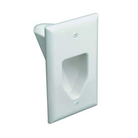 Datacomm Electronics 45-0001-Wh 1-Gang Recessed Low Voltage Cable Plate - White