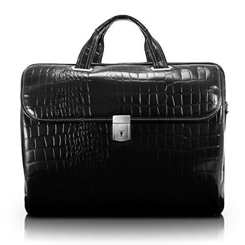 "Siamod, Monterosso, Ignoto, Embossed Crocco Leather, 17"" Leather Large Ladies Laptop Briefcase, Black (35515)"