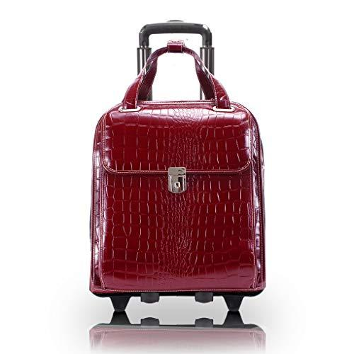 "Siamod, Monterosso, Novembre, Embossed Crocco Leather, 15"" Leather Ladiesvertical Patented Detachable -Wheeled Laptop Briefcase, Red (35326)"