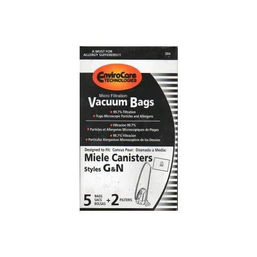 Replacement Miele Gn Bags For S5 Galaxy Series And S600 Series Canister Vacuums - 5 Bags + 2 Filters - By Envirocare Technologies