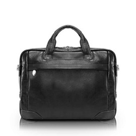 "Mcklein, S Series, Montclare, Pebble Grain Calfskin Leather, 13"" Leather Tablet Briefcase, Black (15495)"
