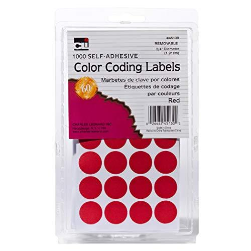 Charles Leonard Color Coding Dots, Self-Adhesive  Labels, 0.75 Inch Diameter, Red, 1000-Count Box (45130)