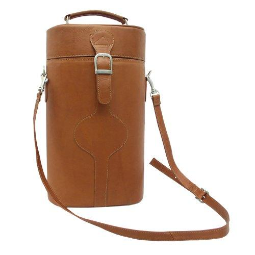 Piel Leather Double Deluxe Wine Carrier, Saddle, One Size