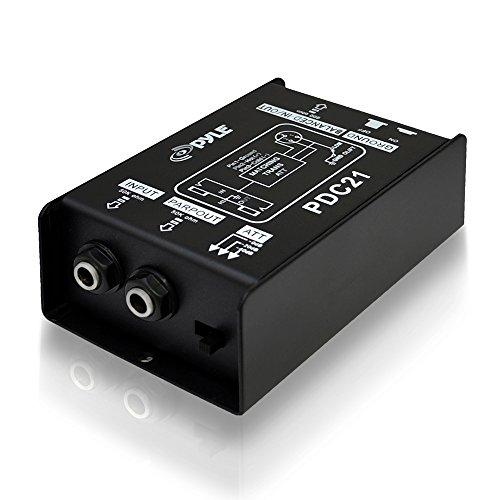 Premium Direct Injection Audio Box - Passive Di Unit Hum Eliminator W/ Input Attenuator To Connect Guitar &Amp; Bass - 1/4 Inch Impedance Transformer Connector To Balanced &Amp; Unbalanced Xlr - Pyle Pdc21