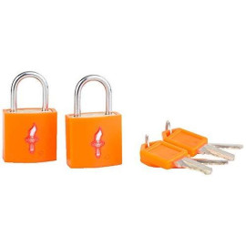 Safe Skies Tsa Tsa-Approved Padlock Double Set, Neon Orange