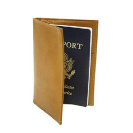 Piel Leather Passport Cover, Saddle, One Size