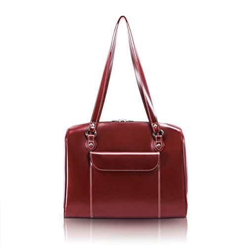 "Mcklein, W Series, Glenview, Top Grain Cowhide Leather, 15"" Leather Ladies' Laptop Briefcase, Red (94746)"