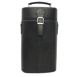 Piel Leather Double Deluxe Wine Carrier, Black, One Size