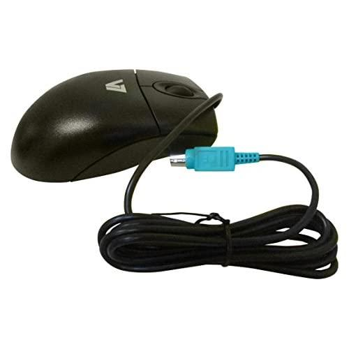 V7 Standard Full Size 3 Button Ps2 Optical Mouse With Scroll Wheel For Desktop And Notebooks (M30P20-7N) - Black