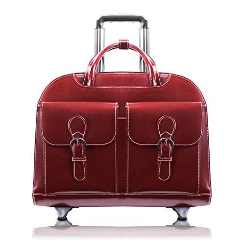 "Mcklein, L Series, Davis, Top Grain Cowhide Leather With Faux Leather Trim, 15"" Leather Wheeled Ladies' Laptop Briefcase, Red (96186A)"