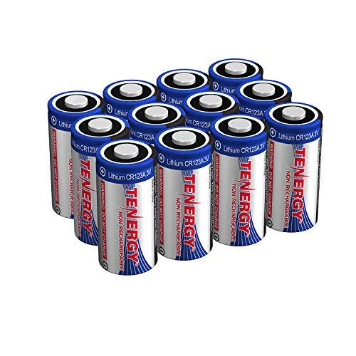 Tenergy 3V Cr123A Lithium Battery, High Performance 1500Mah Cr123A Cell Batteries Ptc Protected For Cameras, Flashlight Replacement Cr123A Batteries, 12-Pack