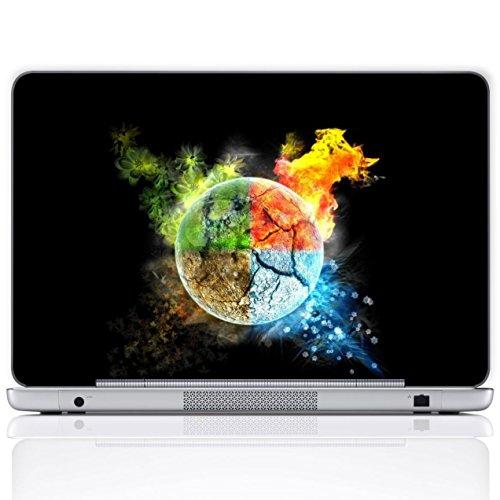 Meffort Inc 17 17.3 Inch Laptop Notebook Skin Sticker Cover Art Decal (Free Wrist Pad) - Four Elements