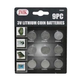 9-Piece Lithium 3V Button Cell Batteries - Cr2032, Cr2025 &Amp; Cr2016