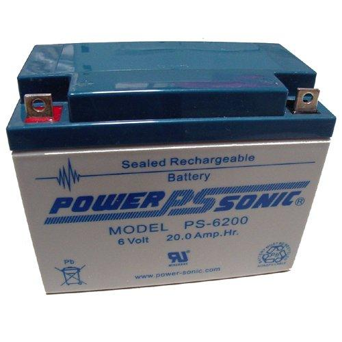 Powersonic Ps-6200 - 6 Volt/20 Amp Hour Sealed Lead Acid Battery With Nut-Bolt Terminal