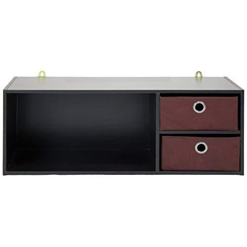 Furinno Wall-Mounted Storage Shelf With 2 Bin Drawers, Espresso/Brown