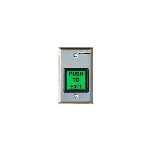 """Seco-Larm Sd-7202Gc-Peq Enforcer Led Illuminated Rte Single-Gang Wall Plate With Large Green Button, Large Illuminated Push Button With Caption """"Push To Exit"""", Pushbutton Rated 10A At 125 To 250Vac"""