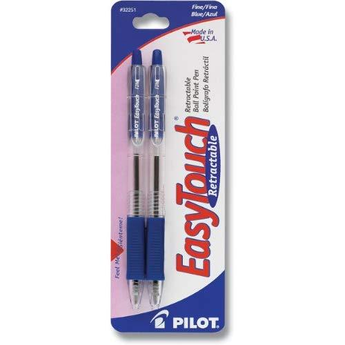 Pilot Easytouch Retractable Ball Point Pens, Fine Point, Blue Ink, 2-Pack (32251)