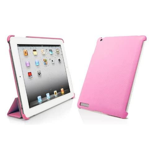 Bear Motion Leather Back Cover (Smart Cover Compatible) For Ipad 2 - Pink (Scllp)