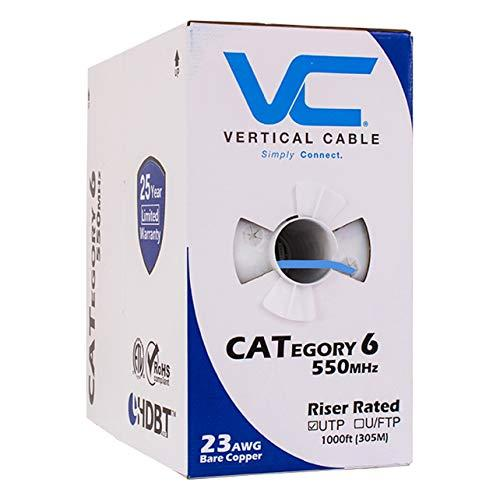 Vertical Cable Cat6, 550 Mhz, Utp, 23Awg, Solid Bare Copper, 1000Ft, Blue, Bulk Ethernet Cable - 060 Series